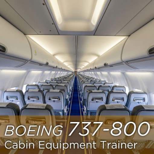 """A cabin view of Boeing 737-800 with golden label at the bottom of the picture saying """"Boeing 737-800 Cabin Equipment Trainer"""""""
